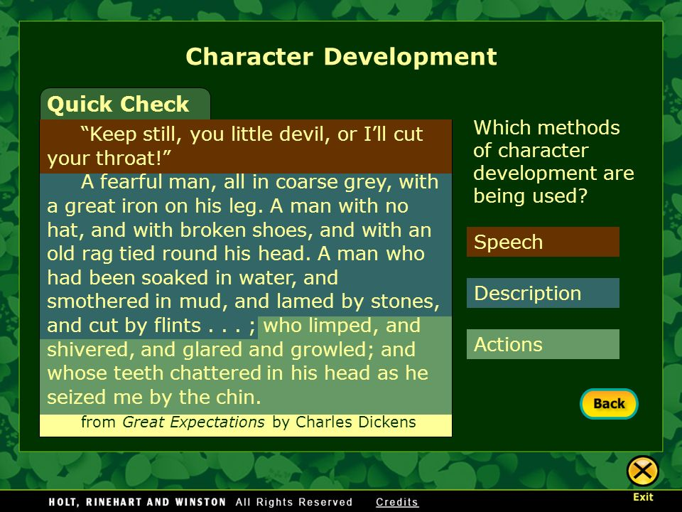 Speech Actions Description Character Development Quick Check Which methods of character development are being used? Keep still, you little devil, or I