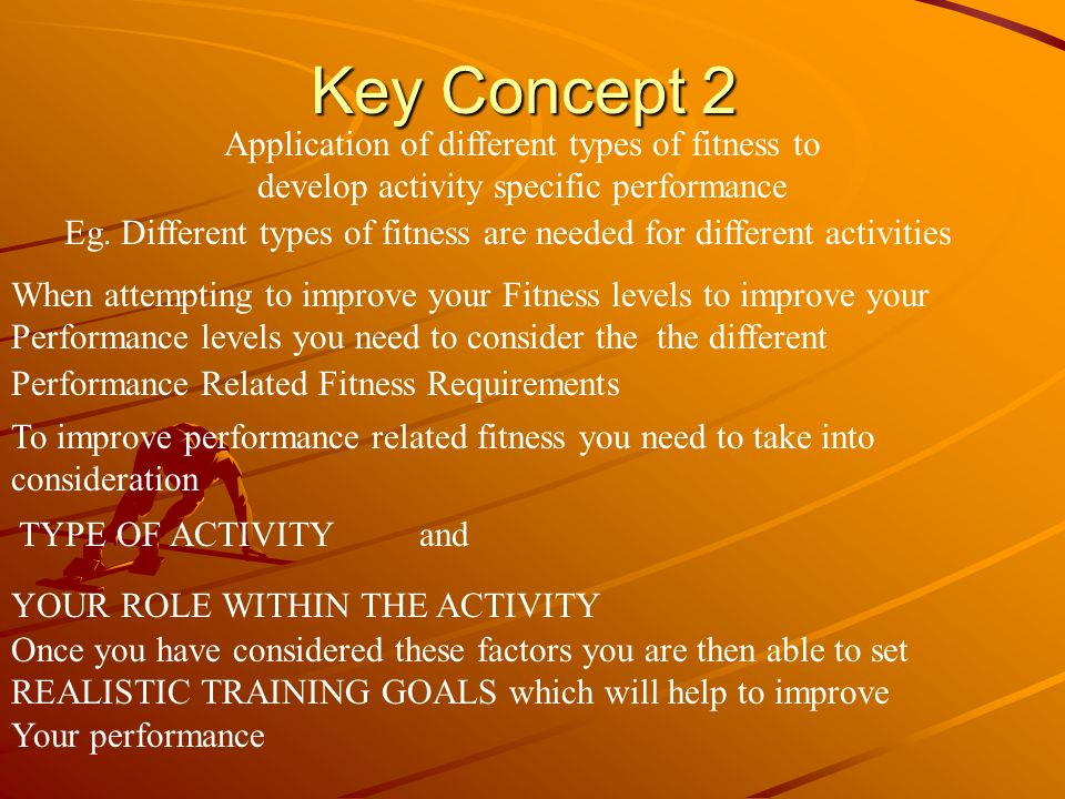 Key Concept 2 Application of different types of fitness to develop activity specific performance Eg. Different types of fitness are needed for differe