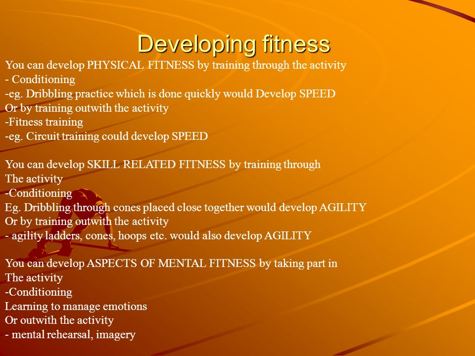Intensity Intensity means how HARD you work in any training session Again how HARD you need to work depends on your fitness level, The demands of the activity and your role in the activity You can increase the level of intensity in many ways, depending on the METHOD of training you are doing.