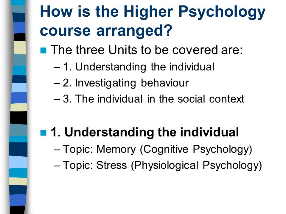 How is the Higher Psychology course arranged? The three Units to be covered are: –1. Understanding the individual –2. Investigating behaviour –3. The