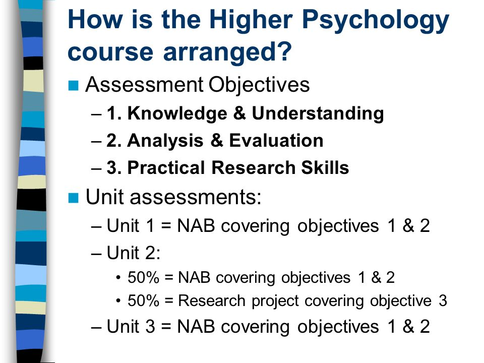 How is the Higher Psychology course arranged? Assessment Objectives –1. Knowledge & Understanding –2. Analysis & Evaluation –3. Practical Research Ski