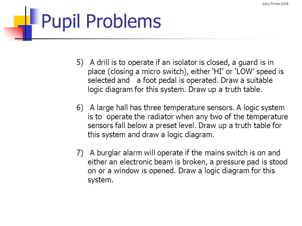 Gary Plimer 2005 Pupil Problems 5) A drill is to operate if an isolator is closed, a guard is in place (closing a micro switch), either HI or LOW spee