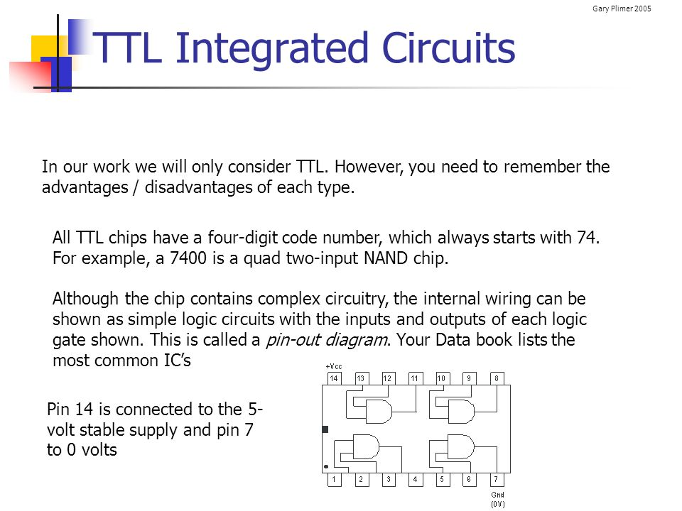 Gary Plimer 2005 TTL Integrated Circuits In our work we will only consider TTL. However, you need to remember the advantages / disadvantages of each t