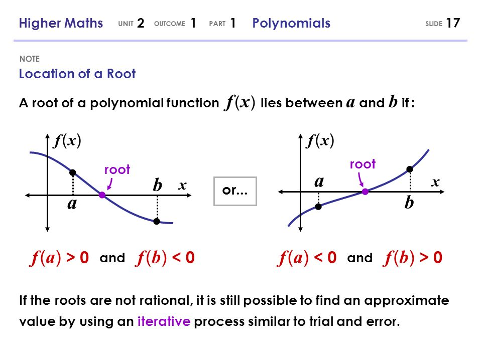 Location of a Root 17 f ( x)f ( x) b a f ( a ) > 0 f ( b ) < 0 A root of a polynomial function f ( x ) lies between a and b if : and or... f ( x)f ( x
