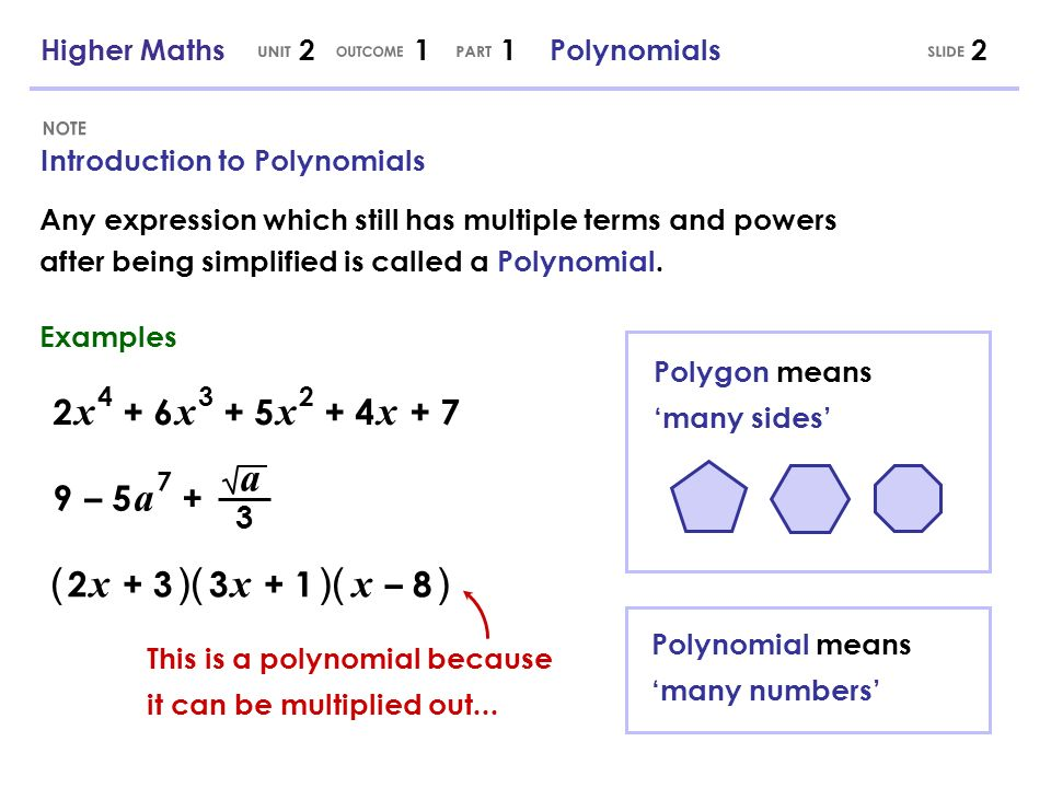 Any expression which still has multiple terms and powers after being simplified is called a Polynomial. Introduction to Polynomials 2 Polynomial means