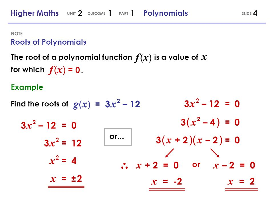 Roots of Polynomials 4 The root of a polynomial function is a value of x for which f (x)f (x) f (x) = 0.f (x) = 0. Find the roots of g ( x ) = 3 x 2 –