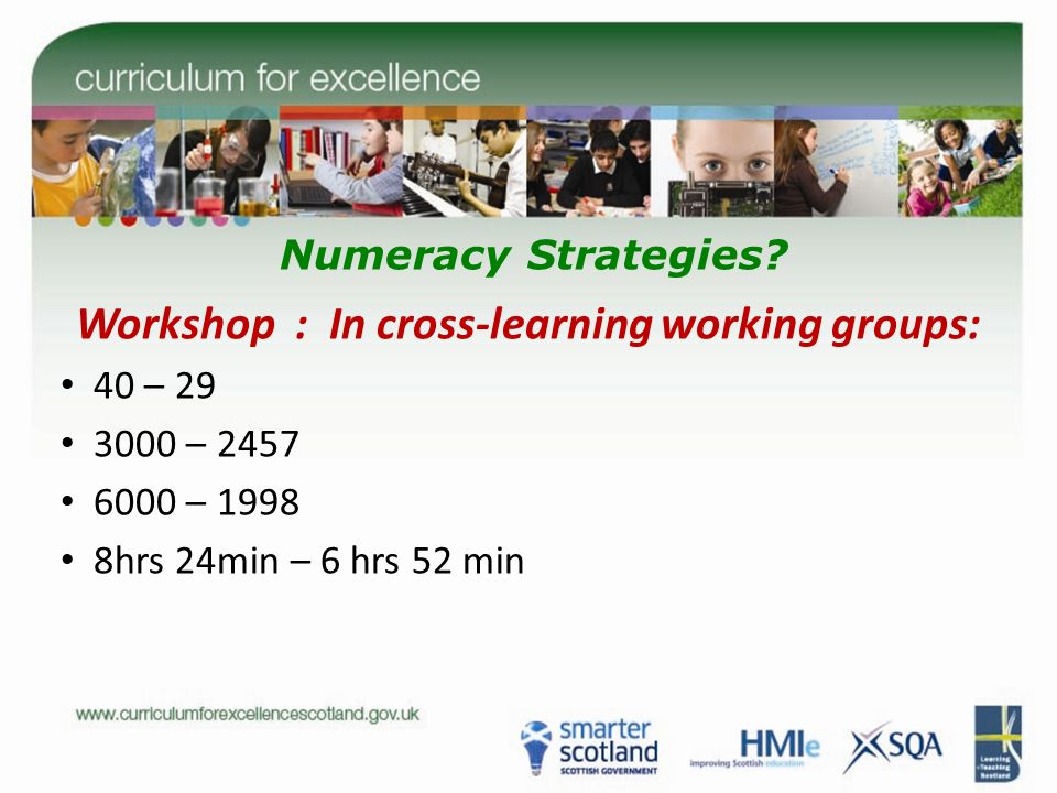 Numeracy Strategies? Workshop : In cross-learning working groups: 40 – 29 3000 – 2457 6000 – 1998 8hrs 24min – 6 hrs 52 min