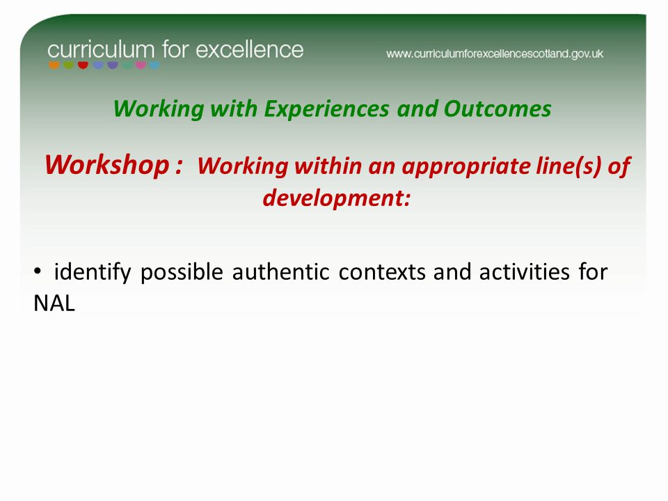 Working with Experiences and Outcomes Workshop : Working within an appropriate line(s) of development: identify possible authentic contexts and activi