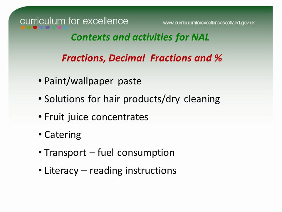 Contexts and activities for NAL Fractions, Decimal Fractions and % Paint/wallpaper paste Solutions for hair products/dry cleaning Fruit juice concentr