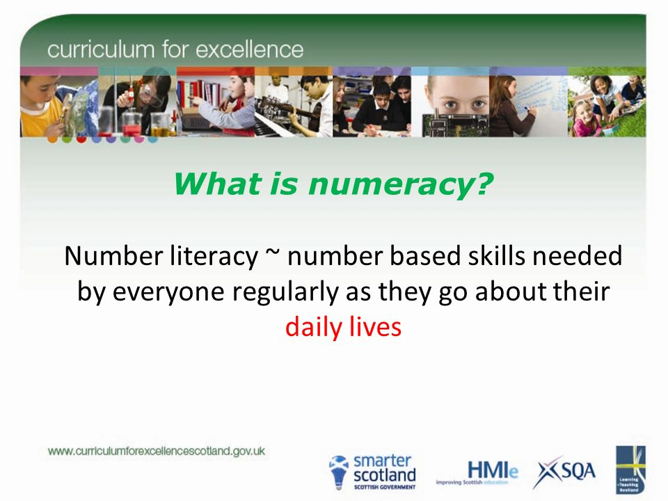 What is numeracy? Number literacy ~ number based skills needed by everyone regularly as they go about their daily lives