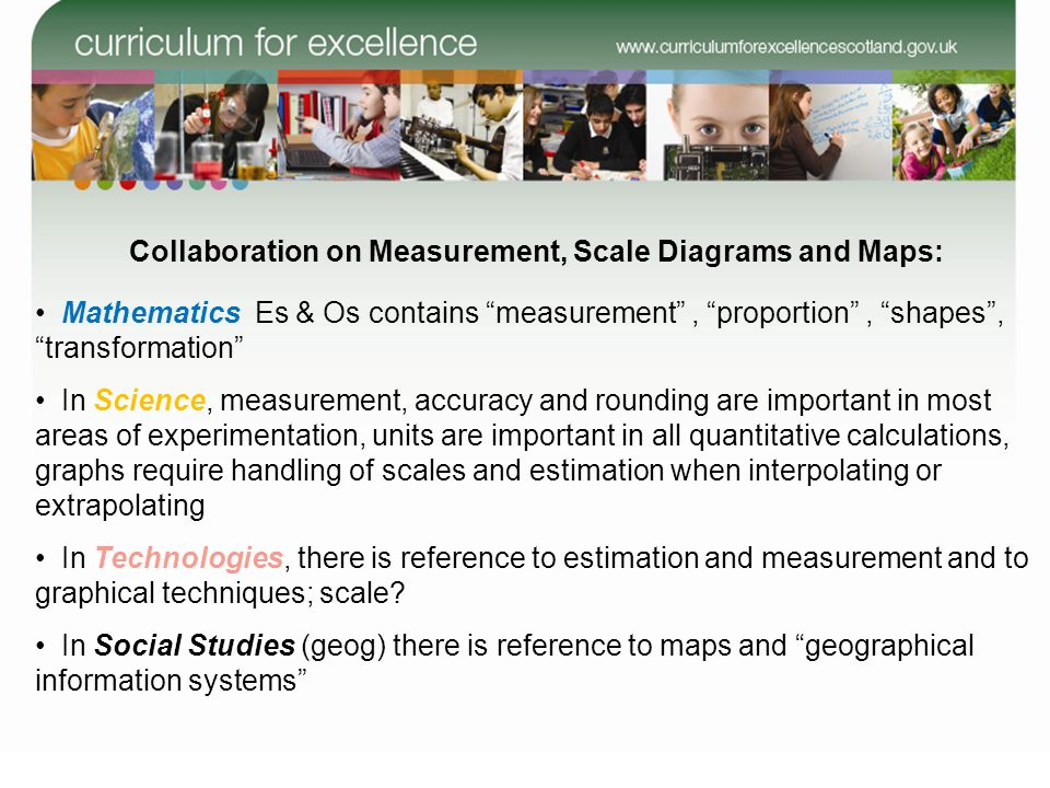 Collaboration on Measurement, Scale Diagrams and Maps: Mathematics Es & Os contains measurement, proportion, shapes, transformation In Science, measur