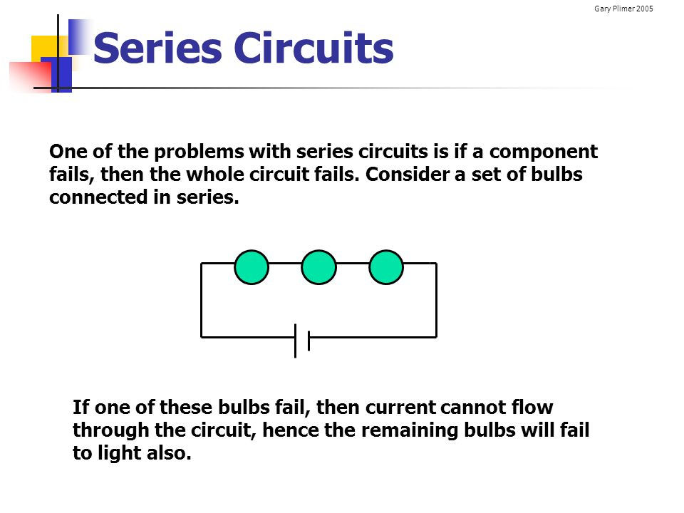 Gary Plimer 2005 Series Circuits One of the problems with series circuits is if a component fails, then the whole circuit fails. Consider a set of bul