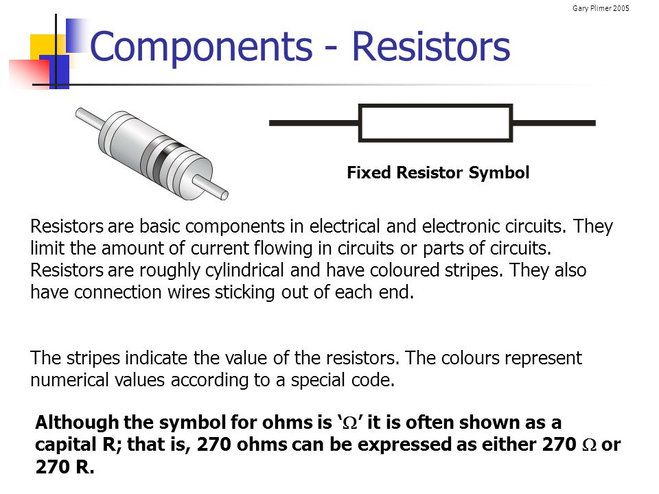 Gary Plimer 2005 Worked Example For the series circuit shown, calculate: a) The total resistance (RT) b) The circuit current (IC) c) The potential difference across both resistors (V1 and V2)