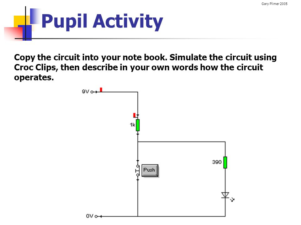 Gary Plimer 2005 Pupil Activity Copy the circuit into your note book. Simulate the circuit using Croc Clips, then describe in your own words how the c