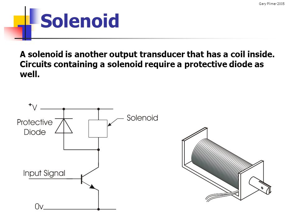 Gary Plimer 2005 Solenoid A solenoid is another output transducer that has a coil inside. Circuits containing a solenoid require a protective diode as