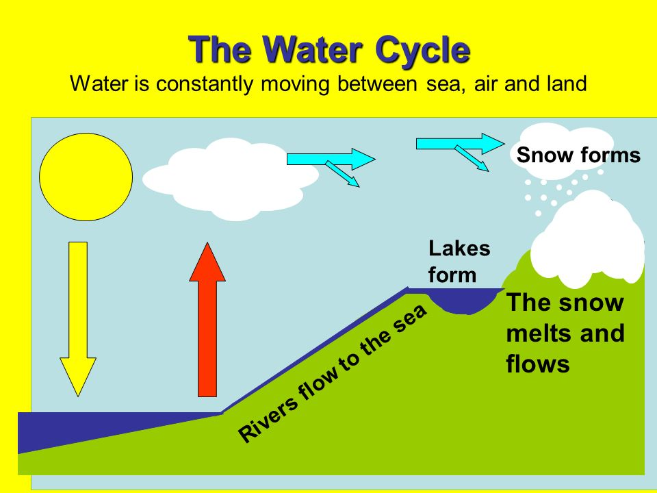 The Water Cycle The Water Cycle Water is constantly moving between sea, air and land The snow melts and flows Rivers flow to the sea Lakes form Snow f