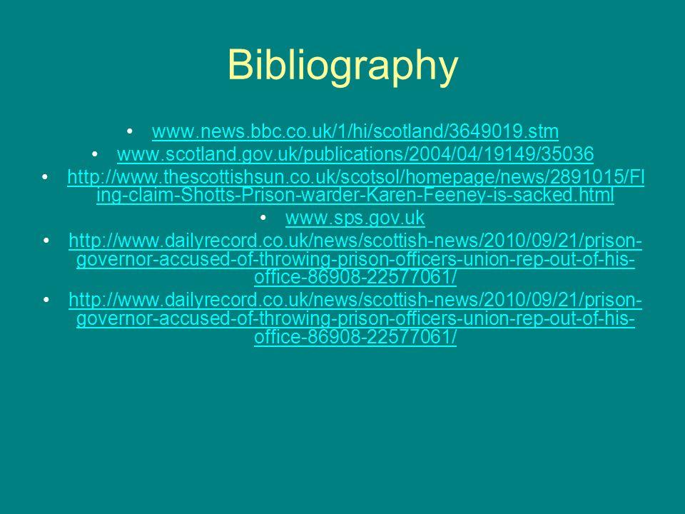 Bibliography www.news.bbc.co.uk/1/hi/scotland/3649019.stm www.scotland.gov.uk/publications/2004/04/19149/35036 http://www.thescottishsun.co.uk/scotsol