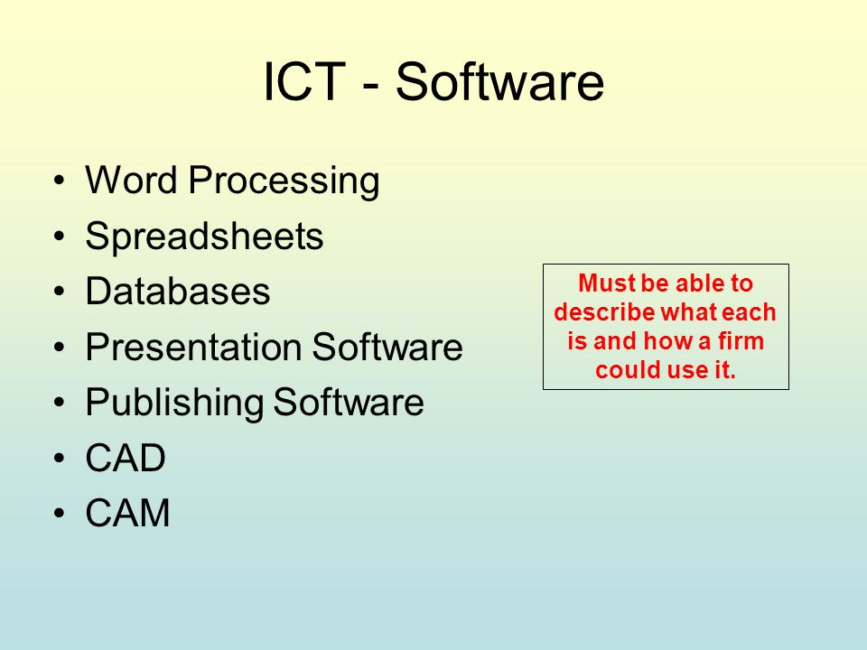 ICT - Software Word Processing Spreadsheets Databases Presentation Software Publishing Software CAD CAM Must be able to describe what each is and how a firm could use it.