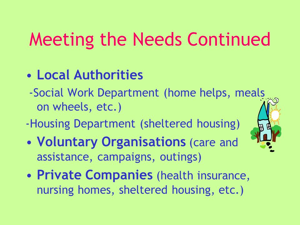 Meeting the Needs Continued Local Authorities -Social Work Department (home helps, meals on wheels, etc.) -Housing Department (sheltered housing) Voluntary Organisations (care and assistance, campaigns, outings) Private Companies (health insurance, nursing homes, sheltered housing, etc.)