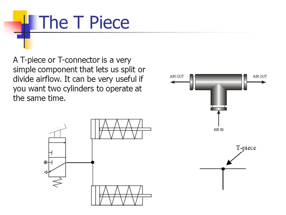 The T Piece A T-piece or T-connector is a very simple component that lets us split or divide airflow. It can be very useful if you want two cylinders