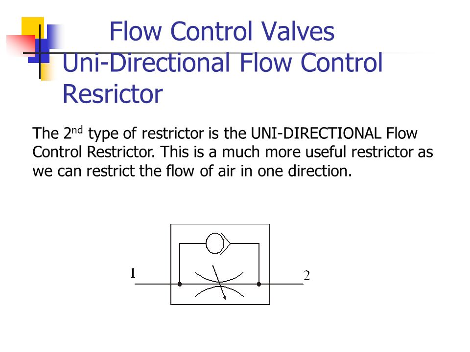 Flow Control Valves Uni-Directional Flow Control Resrictor The 2 nd type of restrictor is the UNI-DIRECTIONAL Flow Control Restrictor. This is a much