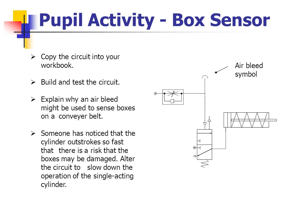 Pupil Activity - Box Sensor Air bleed symbol Copy the circuit into your workbook. Build and test the circuit. Explain why an air bleed might be used t