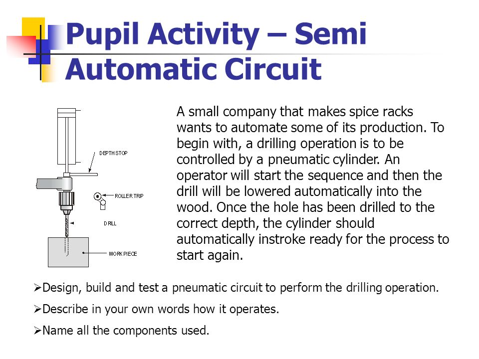 Pupil Activity – Semi Automatic Circuit A small company that makes spice racks wants to automate some of its production. To begin with, a drilling ope