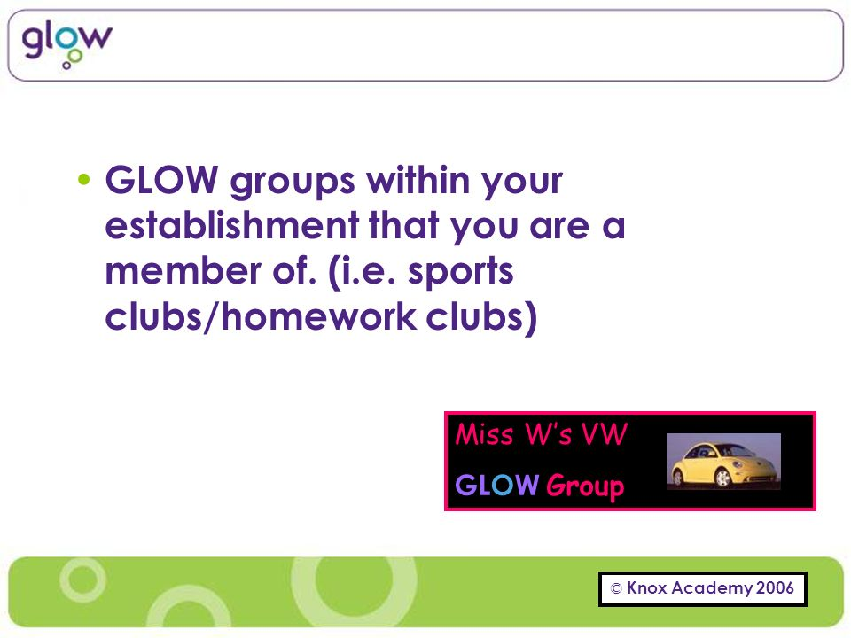 © Knox Academy 2006 GLOW groups within your establishment that you are a member of.