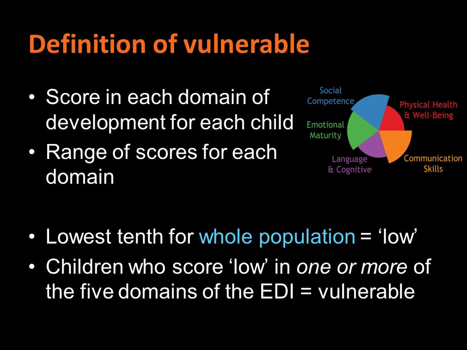 Definition of vulnerable Score in each domain of development for each child Range of scores for each domain Lowest tenth for whole population = low Children who score low in one or more of the five domains of the EDI = vulnerable