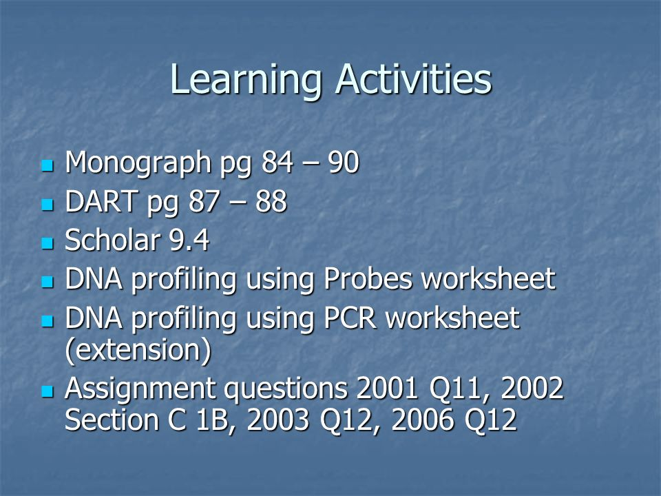Learning Activities Monograph pg 84 – 90 Monograph pg 84 – 90 DART pg 87 – 88 DART pg 87 – 88 Scholar 9.4 Scholar 9.4 DNA profiling using Probes works