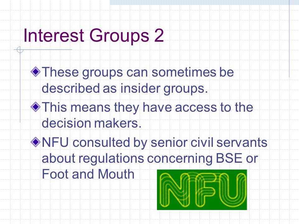 Examples of Interest Groups TUC CBI BMA NFU