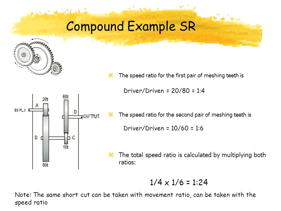 Compound Example SR zThe speed ratio for the first pair of meshing teeth is zThe speed ratio for the second pair of meshing teeth is zThe total speed ratio is calculated by multiplying both ratios: Driver/Driven = 20/80 = 1:4 Driver/Driven = 10/60 = 1:6 1/4 x 1/6 = 1:24 Note: The same short cut can be taken with movement ratio, can be taken with the speed ratio