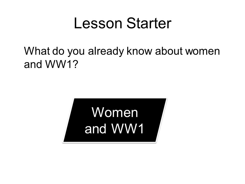 Lesson Starter What do you already know about women and WW1 Women and WW1