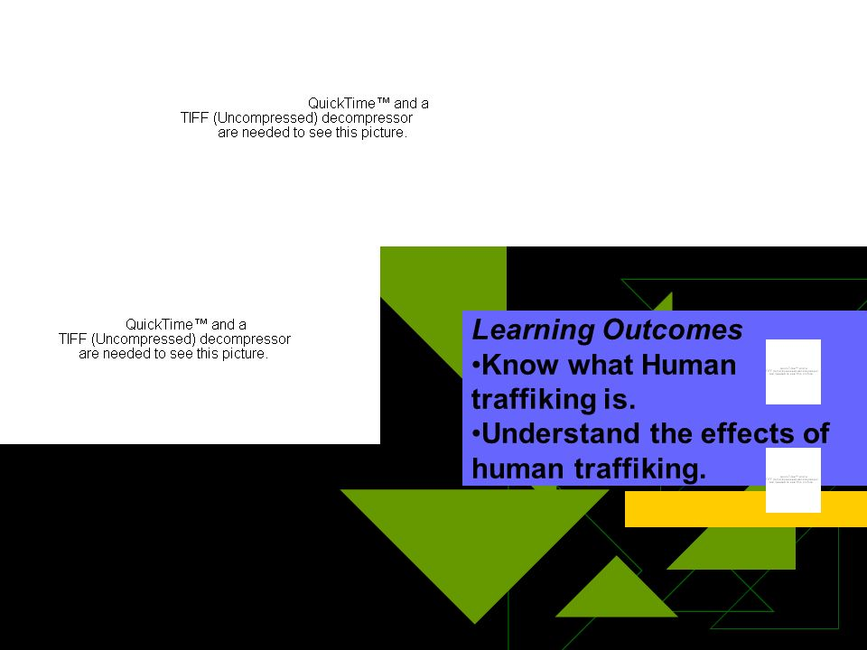 Learning Outcomes Know what Human traffiking is. Understand the effects of human traffiking.