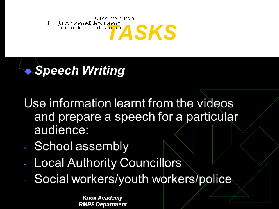 Knox Academy RMPS Department TASKS Speech Writing Use information learnt from the videos and prepare a speech for a particular audience: - School assembly - Local Authority Councillors - Social workers/youth workers/police