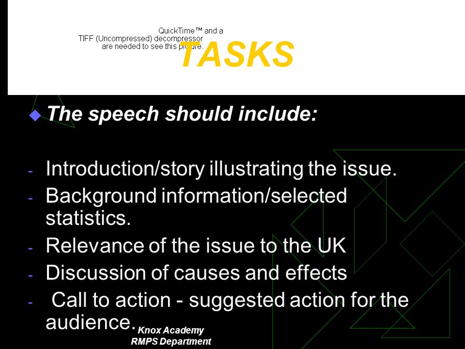 Knox Academy RMPS Department TASKS The speech should include: - Introduction/story illustrating the issue.