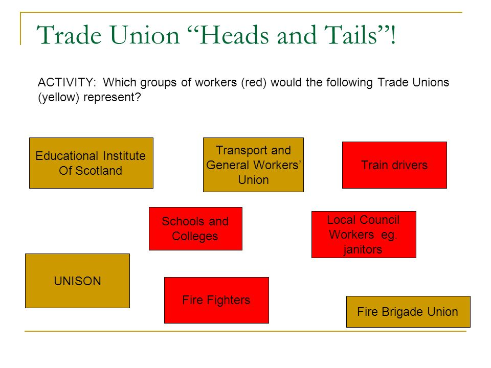 Trade Union Structure STUC / TUC CONFERENCE GENERAL SECRETARY NATIONAL EXECUTIVE DISTRICT OR REGIONAL OFFICE (local headquarters of union) BRANCH (in the workplace) SHOP STEWARD Represents workers In the workplace.