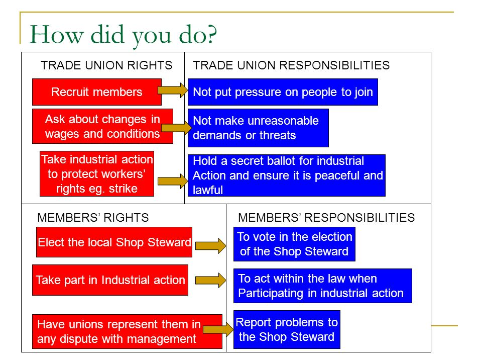 DAY TO DAY DURING DISPUTES PARTICIPATION BY MEMBERS IN TRADE UNIONS BOTH Vote for union officials eg.