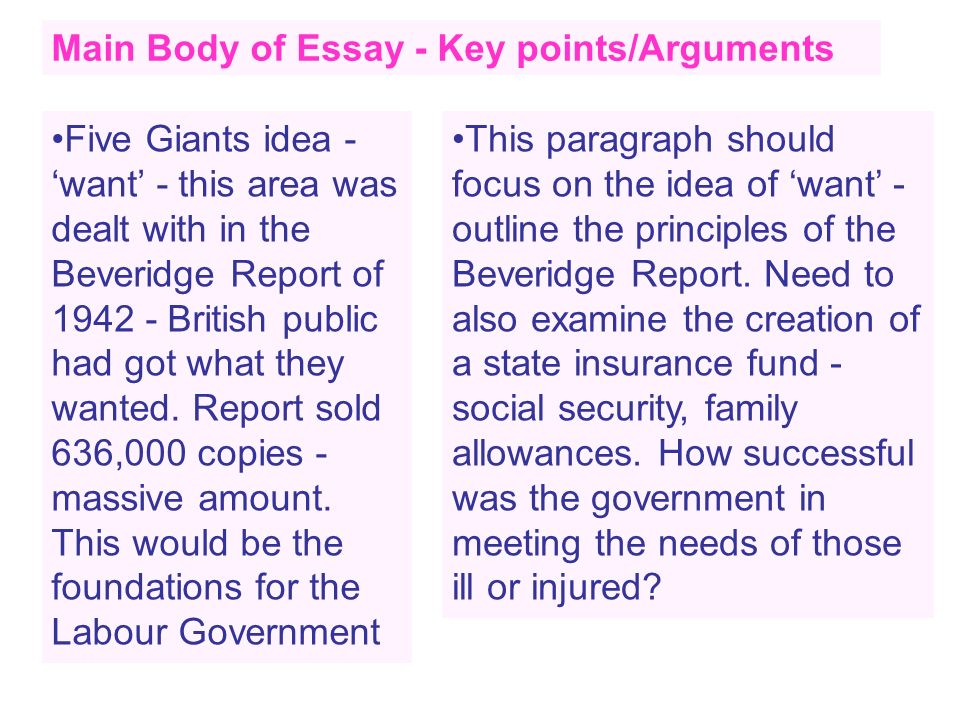 Main Body of Essay - Key points/Arguments Five Giants idea - want - this area was dealt with in the Beveridge Report of 1942 - British public had got