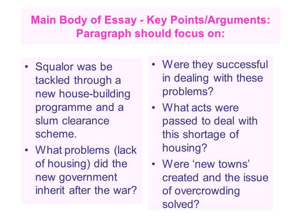 Main Body of Essay - Key Points/Arguments: Paragraph should focus on: Squalor was be tackled through a new house-building programme and a slum clearan