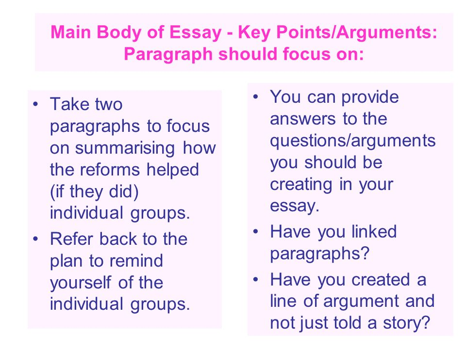 Main Body of Essay - Key Points/Arguments: Paragraph should focus on: Take two paragraphs to focus on summarising how the reforms helped (if they did)