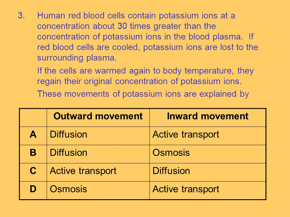 3.Human red blood cells contain potassium ions at a concentration about 30 times greater than the concentration of potassium ions in the blood plasma.