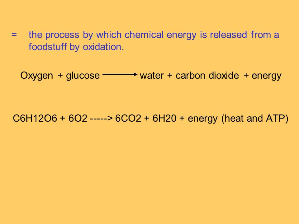 =the process by which chemical energy is released from a foodstuff by oxidation.