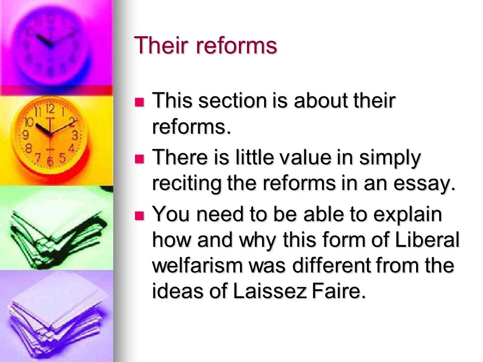 Their reforms This section is about their reforms. This section is about their reforms. There is little value in simply reciting the reforms in an ess