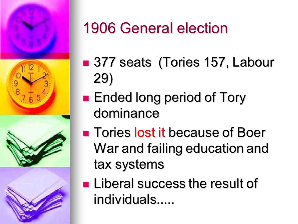 1906 General election 377 seats (Tories 157, Labour 29) 377 seats (Tories 157, Labour 29) Ended long period of Tory dominance Ended long period of Tor