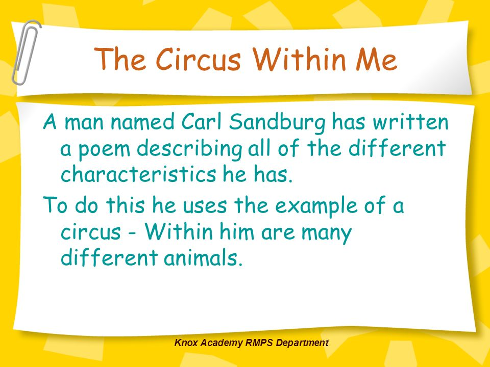 Knox Academy RMPS Department The Circus Within Me A man named Carl Sandburg has written a poem describing all of the different characteristics he has.