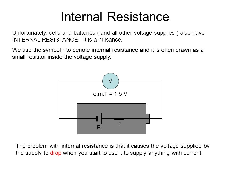 Internal Resistance Unfortunately, cells and batteries ( and all other voltage supplies ) also have INTERNAL RESISTANCE. It is a nuisance. We use the