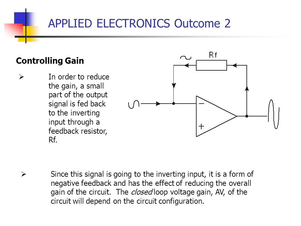 APPLIED ELECTRONICS Outcome 2 Controlling Gain In order to reduce the gain, a small part of the output signal is fed back to the inverting input throu