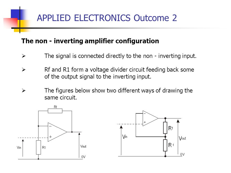 APPLIED ELECTRONICS Outcome 2 The non - inverting amplifier configuration The signal is connected directly to the non - inverting input. Rf and R1 for