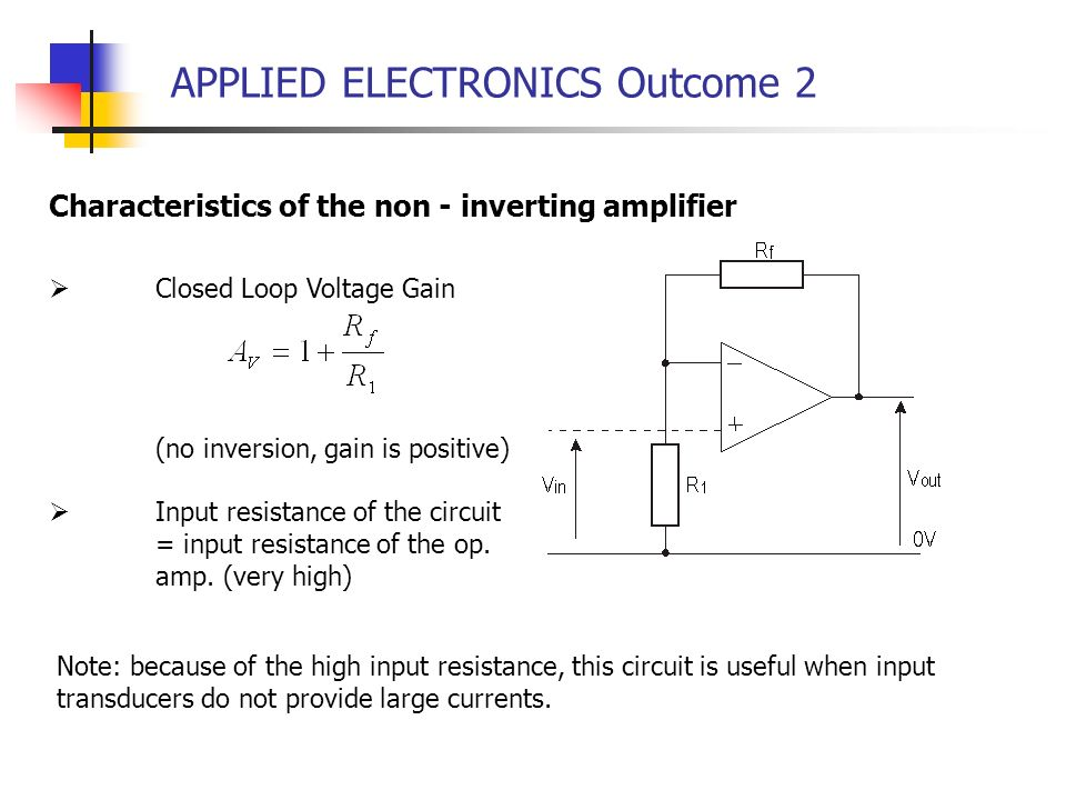 APPLIED ELECTRONICS Outcome 2 Closed Loop Voltage Gain (no inversion, gain is positive) Input resistance of the circuit = input resistance of the op.